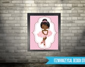 "AA African American Ballerina Tutu Wall Art Poster Print 8x10"" Instant Download"