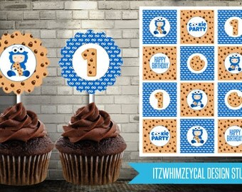 1st Birthday Cookie Monster Cupcake Topper Instant Download Printable