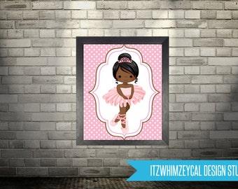 "AA African American Ballerina Tutu Wall Art Poster Print 8x10"" Instant Download"