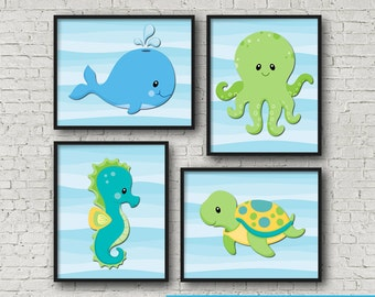 """Under The Sea Creature Wall Art Poster Print 8x10"""" Instant Download"""