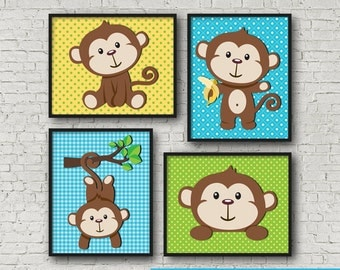 "Silly Monkey Wall Art Poster Print 8x10"" Instant Download"