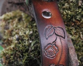 Leather Dog Collar 1 inch wide, Rose vine, nickle plate outdoor hardware, can be monogrammed, with name and phone number