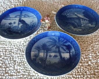 Three Beautiful Vintage Collectible Royal Copenhagen Christmas Decorator Plates From Solvang CA~Era 1970s