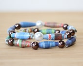 The Runaway Bunny Recycled Book Bead Bracelet Set, Made With Book Pages, teacher gift, librarian gift