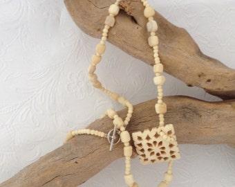 Carved Bone Pendant - Bone Necklace - Vintage