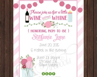 Peony Wine before Whine Baby Invite - Mommy's Night Out / Shower Invite (blue or pink, chalkboard) Gender Reveal