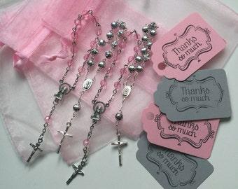40 wedding favors or baptism favors 40 pcs Organza bags,  organza bag, Pink and silver mini rosaries, pink and gray tags,communion favors