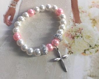 Baby girl Bracelets, Baptism Bracelet, Cross bracelet, Christening bracelet, Keepsake, newborn gift, first communion bracelet