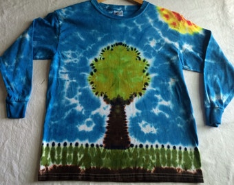 Kids Youth Tree Love Tie Dye Large Long Sleeve Tee Shirt