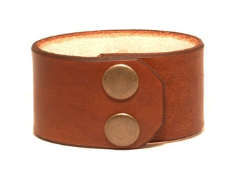 Wide thick leather bracelet cuff wristband