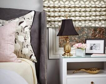 Flat Roman Shade Window Treatment   Grey Geometric Fabric   Designer Abby M Interiors