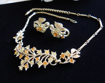 Coro Yellow & Amber Rhinestone Necklace and Earring Set Vintage Signed
