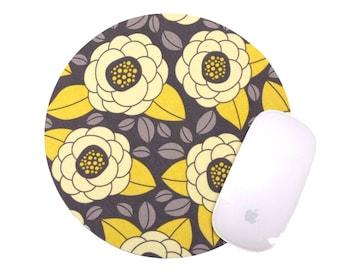 Flower Mouse Pad / Home Office Decor / Charcoal Gray Yellow Blossom / Aviary 2 Bloom Granite Joel Dewberry Fabric / Slightly Smitten Kitten