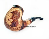 """Exclusive Style Pipe """"SHERLOCK HOLMES"""" Tobacco Pipe Smoking Pipe / Pipes Engraved Wooden Pipes. Handcrafted, Wood Pipe Limited Edition"""
