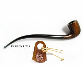 "Set - Long Tobacco Pipe ""Lord of The Rings"" Dragon Tamper, Pear Pipe 9.8'' Churchwarden Smoking Pipe Handcrafted. Designed for pipe smokers"