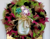 Mesh Wreath Spring, Mesh Wreath Flowers, Mason Jar Wreath, Mothers Day Gift, Summer Wreath