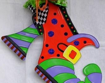 Witch's Shoe Door Hanger, Halloween Door Hanger, Fall Door Hanger, Trick or Treat