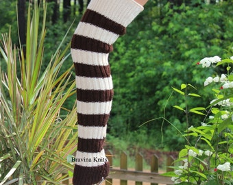 Knitted  Legwarmers, Brown Cream Stripe, sweater Knit, 25 inches