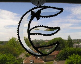 Stained Glass Initial E|Letter E|E|E Monogram|Beveled Glass|Butterfly|Art & Collectibles|Glass Art|Suncatchers|Handcrafted|Made in USA