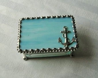 Stained Glass Jewelry Box|Anchor|Anchor Jewelry Box|Anchor Box|Aqua|Jewelry|Jewelry Storage|Anchor Design|Handcrafted|Made in USA