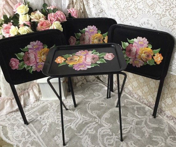 SHIPPING ONLY Vintage Black Tole TV Trays Cabbage by ...