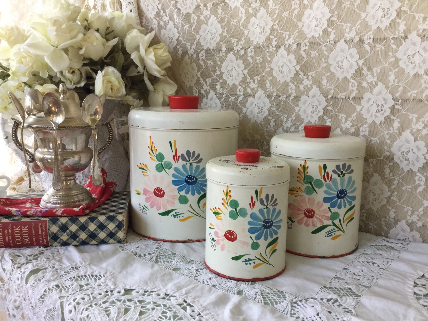 vintage red floral metal canister set french farmhouse tin