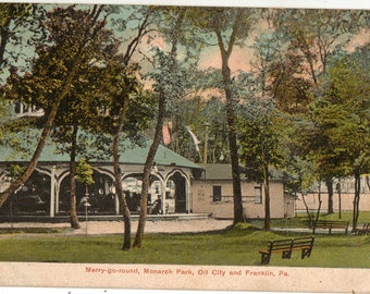 Vintage Postcard, Oil City, Pennsylvania, Monarch Park, Merry Go Round, 1910