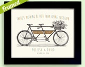 Honeymoon Gift Personalized Wedding Decor Framed Art Print for Couples Bicycle for Two Tandem Bicycle Adventure is Waiting