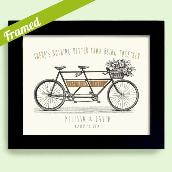 Wedding Gift Framed Art : Honeymoon Gift Personalized Wedding Decor Framed Art Print for Couples ...