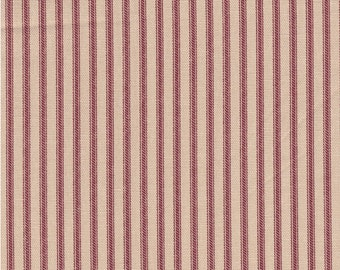 "54"" Red/Beige Cotton Duck Ticking Fabric-20 Yards Wholesale By the Bolt"