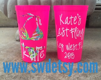Personalized Lilly Pulitizer Inspired Bikini Cups, Set of 11 Tumblers, Bachelorette Cups, Beach,Bikini, Party Cups