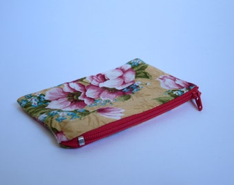 Coin Purse, Yellow Vintage Floral