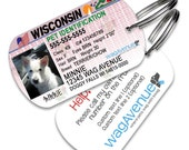 Wisconsin Driver's License Pet Tag - Personalized Pet Tag, Stainless Steel Pet Tag, Dog License ID, Dog License Tags, Dog ID Tag