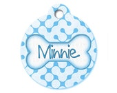 Blue Retro Maze - Dog ID Tags, Cat ID Tags, Dog Tags for Dogs, Designer Pet Tags, Personalized Pet Tags, Custom Pet Tags - Pattern Pet Tags