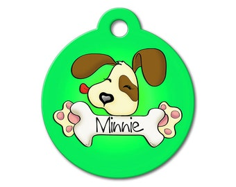 Cute Dog Tag - Green Cute Puppy Licking a Bone - Dog Tags for Dogs, Personalized Pet Tags, Custom Pet Tags, Dog ID Tags, Stainless Steel Tag