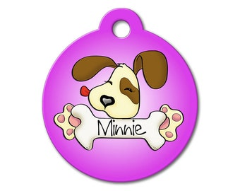 Cute Dog Tags - Purple Cute Puppy Licking a Bone - Personalized Pet Tags, Dog Tags for Dogs, Custom Pet Tags, Dog ID Tags, Cat ID Tag