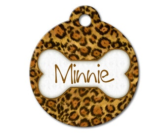 Leopard - Dog ID Tags, Cat ID Tags, Dog Tags for Dogs, Personalized Pet Tags, Custom Pet Tags, Stainless Steel Pet Tag - Pattern Pet Tags