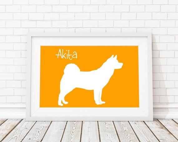 Akita Silhouette Modern Dog Print - Custom Wall Art, Personalized Dog Print, Modern Dog Home Decor, Dog Portrait, Dog Art, Dog Lovers