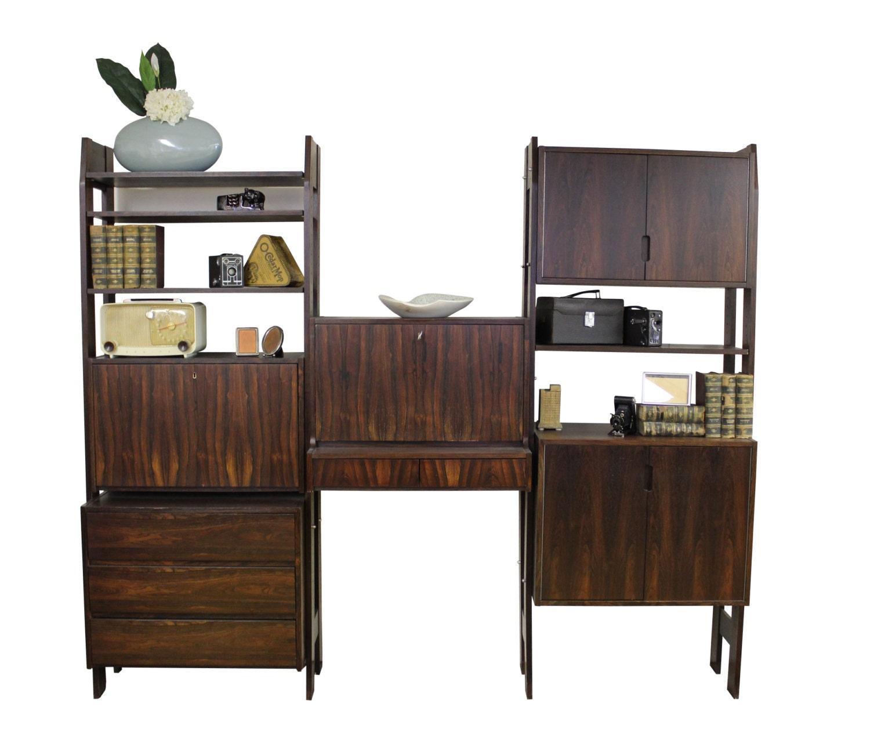 mid century modern free standing danish modern wall unit in. Black Bedroom Furniture Sets. Home Design Ideas