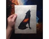 Cosmic Wolf Painting 6x8