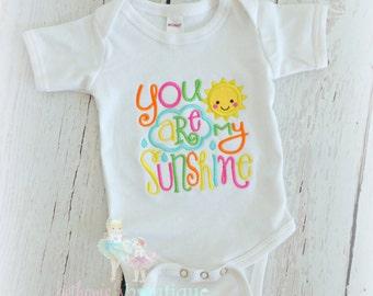 Sunshine Baby Bodysuit or Shirt- Custom embroidery- Shower Gift- Sunshine Saying- Sun applique