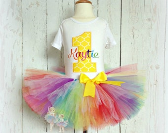 Rainbow birthday outfit - First birthday outfit - Rainbow tutu outfit - Rainbow tutu set - Girls birthday outfit - custom embroidered