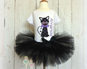 Black cat costume - Halloween black cat outfit - Halloween tutu - Halloween tutu outfit - black cat - embroidered Halloween outfit
