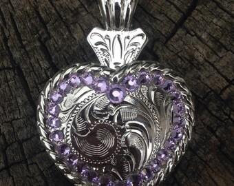 "2"" Simple Purple Bright Concho Pendent with Genuine Swarovski Crystals"