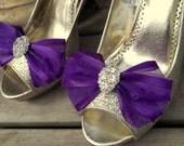 Shoe Clips, Wedding Shoe Clips, Bridal Shoe Clips, Organza Shoe Clips, Bridal Accessories, Regal Purple, Many Colors, Shoe Clips Only