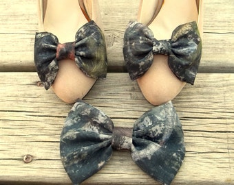Camouflage Chiffon Shoe Clips, Matching Hair Barrette, Womens Hair Clip, Girls Hair Clip and Clips for Shoes, Camo, Army Green, Shoe Clips