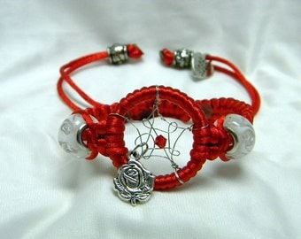 Dream Catcher Braided Bracelet Red with Rose Charm