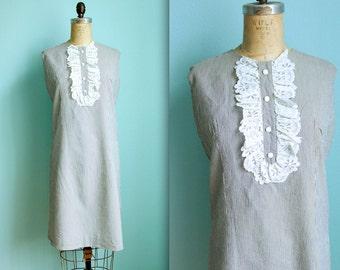 vintage 60s pinstriped lace bib dress / grey and white striped / vertical stripe sheath dress / seersucker / size medium to large