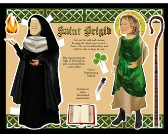 St Brigid of Ireland patron saint of graphic design and printing DIGITAL download paper doll