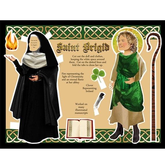 St Brigid of Ireland patron saint of graphic design and printing DIGITAL download paper doll